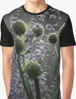 Russian Sage, Rattlesnake Master, Green and Purple Graphic T-Shirt