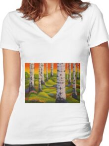 Spring Forest Women's Fitted V-Neck T-Shirt