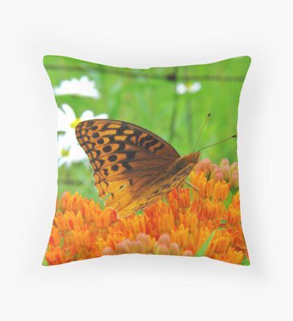 Great spangled Fritillary Dining on Butterfly Weed Throw Pillow