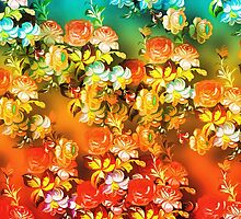 Stunning Peach Blue Poppies Vibrant Floral Design by JoieDesigns