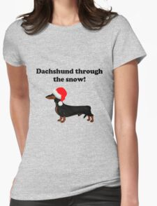 Dachshund Through the Snow Womens Fitted T-Shirt