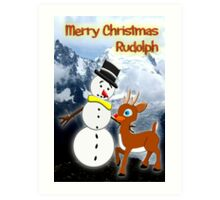Rudolph and Frosty the Snowman in the Mountains Art Print