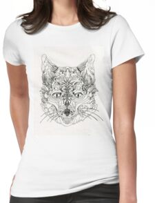 Kitsune Lineart Womens Fitted T-Shirt