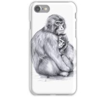 Snow monkey and baby g2009-026 by schukina iPhone Case/Skin