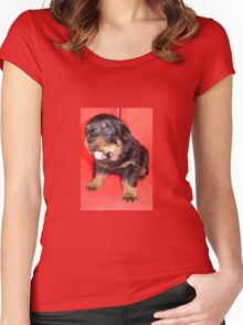 Rottweiler Puppy Howling For Attention Women's Fitted Scoop T-Shirt