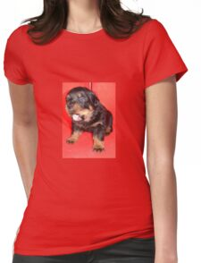 Rottweiler Puppy Howling For Attention Womens Fitted T-Shirt