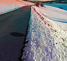 Winter road in vibrant colors by Patrick Jobst