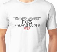 The Martian - 0/10 quote Unisex T-Shirt