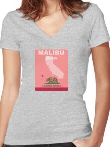 Malibu - California. Women's Fitted V-Neck T-Shirt