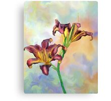 Abstract Pink and Yellow Orchid Design Canvas Print
