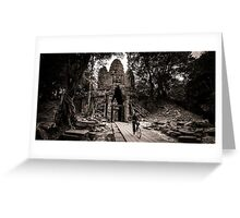 Villager at Angkor Thom West Gate Greeting Card