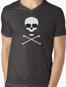8 Bit Skull Mens V-Neck T-Shirt