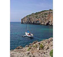 Sail Boat at Cales Coves  Photographic Print