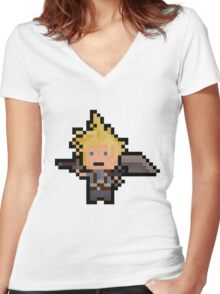 Pixel Cloud Women's Fitted V-Neck T-Shirt