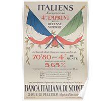 Italiens souscrivez au 4éme Emprunt de la Défense Nationale Banca Italiana di Sconto Poster