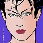 Pop Art Illustration of Beautiful Woman Sara by Frank Schuster