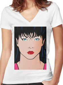Pop Art Illustration of Beautiful Woman Amber Women's Fitted V-Neck T-Shirt