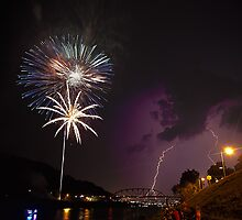 Lightning & Fireworks on the Kanawha River by Tiffany Bailey