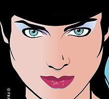 Pop Art Illustration of Beautiful Woman Erin by Frank Schuster