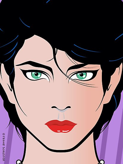 Pop Art Illustration of Beautiful Woman Kirra by Frank Schuster