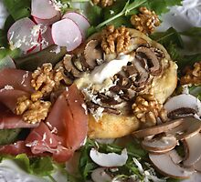 Pizza With Walnut, Mushrooms and Salad by SmoothBreeze7