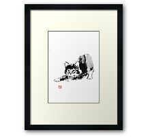 stretching cat Framed Print