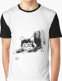stretching cat Graphic T-Shirt