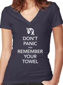 Don't Panic and Remember Your Towel Women's Fitted V-Neck T-Shirt