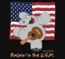 Hippo Rockin in the USA Kids Tee