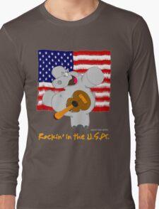 Hippo Rockin in the USA Long Sleeve T-Shirt