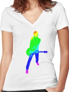 Famous quotes series: colourful guitar player. Music is my passion Women's Fitted V-Neck T-Shirt