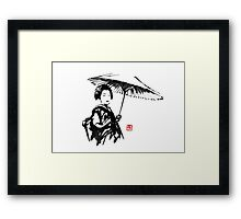 geisha under umbrella Framed Print