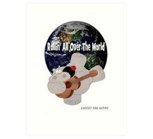 Hippo Rollin All Over The World Art Print