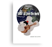 Hippo Rollin All Over The World Metal Print