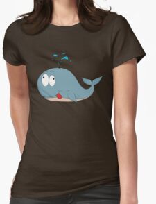 Cartoon whale Womens Fitted T-Shirt