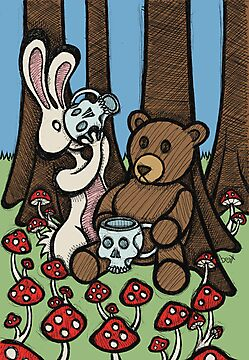 Teddy Bear and Bunny - The Mushroom Forest by Brett Gilbert