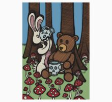 Teddy Bear and Bunny - The Mushroom Forest T-Shirt