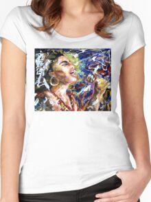 She sang the blues Women's Fitted Scoop T-Shirt