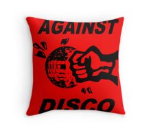 Against Disco (black + red) Throw Pillow