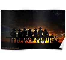 Sunset cowboys Poster