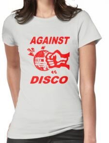 Against Disco (red print) Womens Fitted T-Shirt