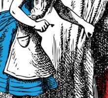 Alice in Wonderland | Alice, with Key in Hand, Pulls Back the Curtain to Find the Door to Wonderland  Sticker