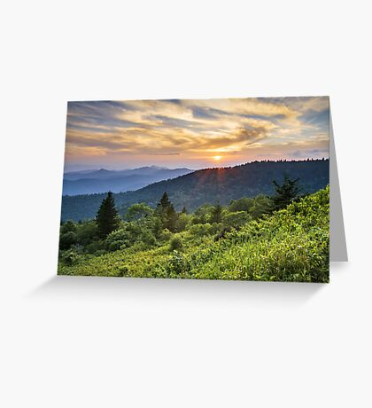 Cowee Mountains Sunset - Blue Ridge Parkway NC Greeting Card