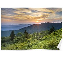 Cowee Mountains Sunset - Blue Ridge Parkway NC Poster