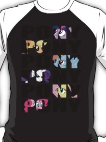 My Little Pony Mane Six 'PONY' Black Lettering T-Shirt