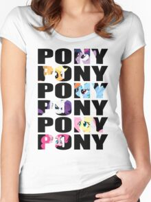 My Little Pony Mane Six 'PONY' Black Lettering Women's Fitted Scoop T-Shirt