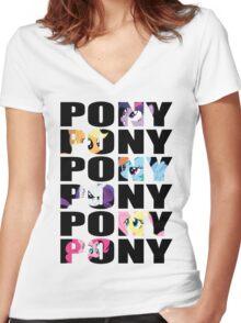 My Little Pony Mane Six 'PONY' Black Lettering Women's Fitted V-Neck T-Shirt