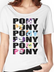 My Little Pony Mane Six 'PONY' Black Lettering Women's Relaxed Fit T-Shirt