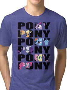 My Little Pony Mane Six 'PONY' Black Lettering Tri-blend T-Shirt