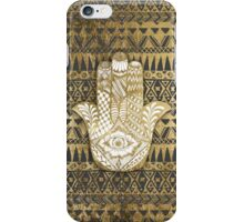 Faux Print Gold Hamsa Hand and Tribal Aztec iPhone Case/Skin